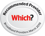 Which? award - recommended provider for Broadband services - March 2019